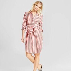 [Who What Wear] Red Striped Tie Waist Shirtdress